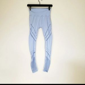 Alo mesh baby blue leggings laser cut